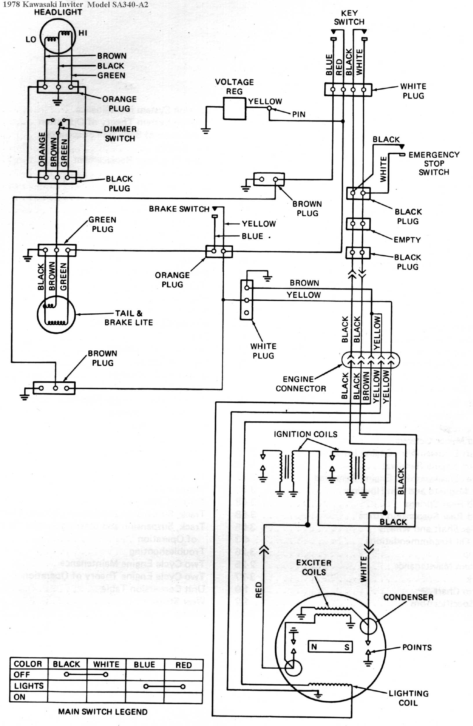 1978 Kawasaki Inviter/Intrigure Snowmobile Wiring Diagrams