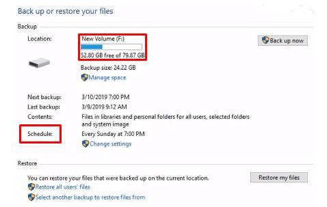উইন্ডোজ ব্যাকআপ: Back up or restore your files