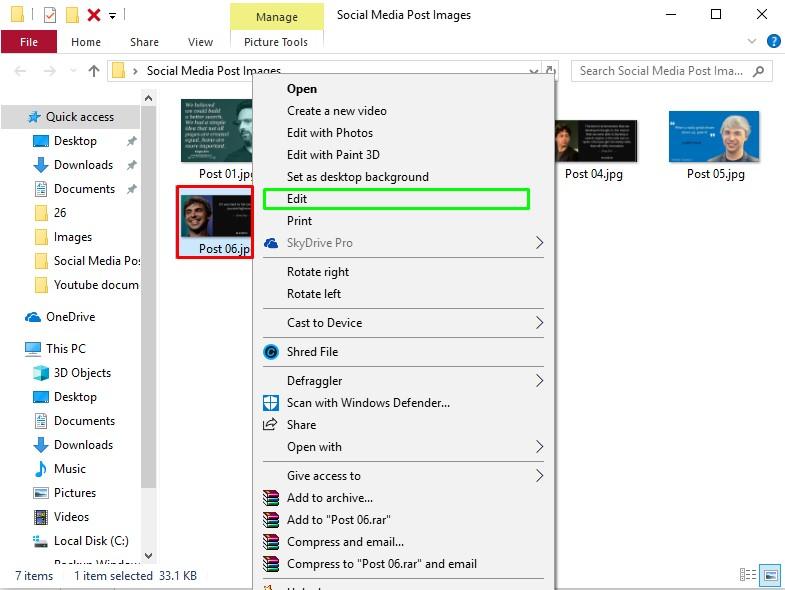Select Image and edit option