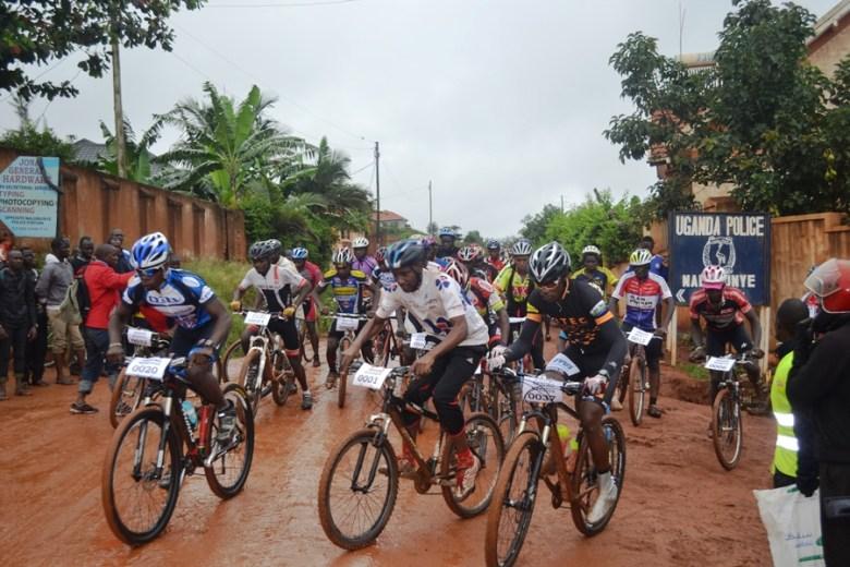 Cyclists during the 2016 Enduro championship at Nalumunye Housing Estate