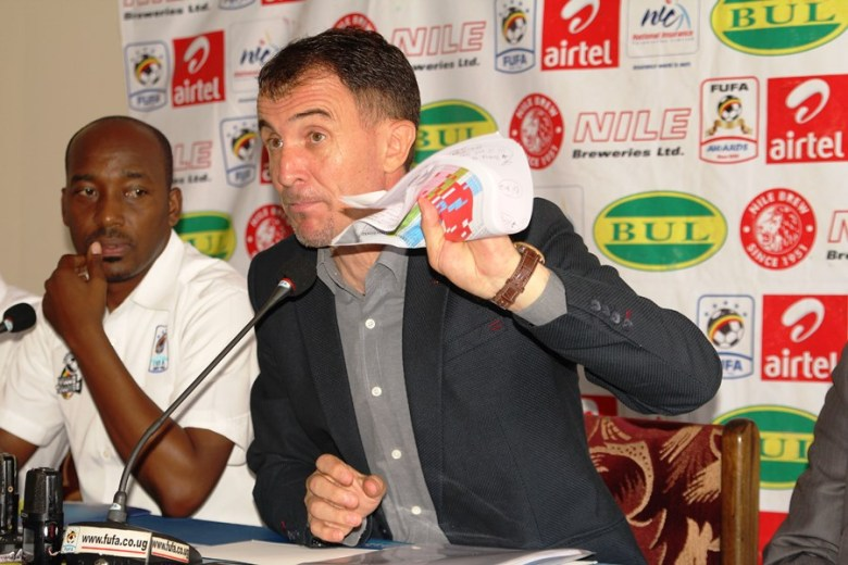 Micho at a press conference in Mengo, Kampala