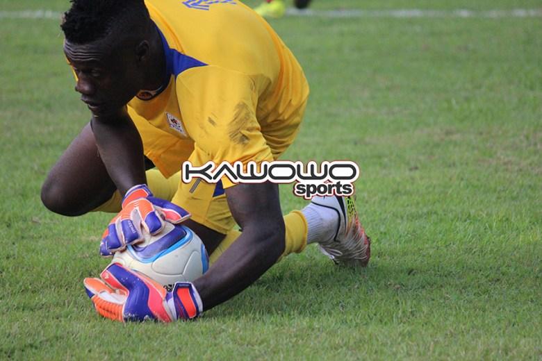 Robert Odongkara holds onto the ball during Uganda vs Congo