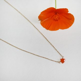 Tiny Orange Carnelian Drop Necklace