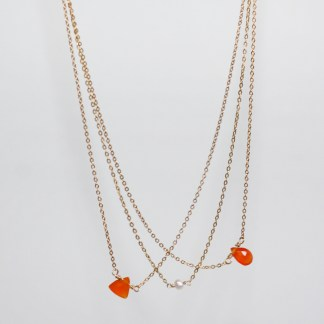 tiny orange carnelian necklace