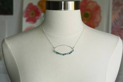 Silver Marquise lapis necklace