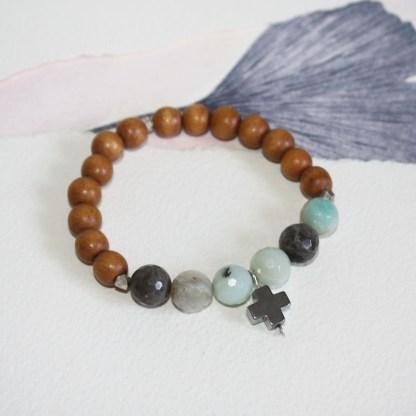 Amazonite-Pyrite-Cross-Thai-Fine-Silver-Beads-Wood-Stretch-Bracelet-1