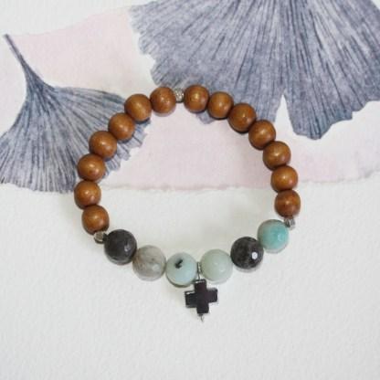 Amazonite-Pyrite-Cross-Thai-Fine-Silver-Beads-Wood-Stretch-Bracelet-3