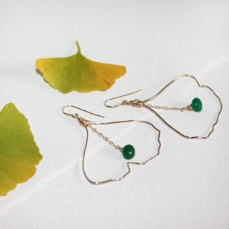 Emerald-Green-Onyx-Hand-Hammered-Ginko-Leaf-Gold-Fill-Earrings-1
