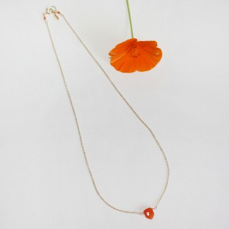 Orange Carnelian Arrow Delicate 14K Gold Fill Necklace