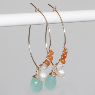 Peruvian-Chalcedony-Orange-Carnelian-Freshwater-Pearls-Rainbow-Moonstone-Gold-Fill-Drop-Earrings