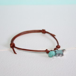 Small-Silver-Drop-Peruvian-Amazonite-Pyrite-Cross-Adjustable-Bronze-Leather-Bracelet-1