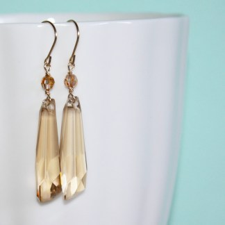 Swarovski-Crystal-Golden-Shadow-Crystalactite-Drop-Gold-Fill-Earrings