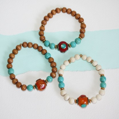 Tibetan Copal Bead, Magnesite & Wood Stretch Bracelet-mix