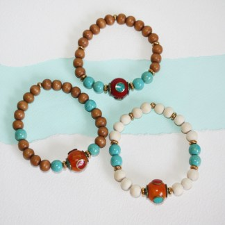 Tibetan Copal Bead, Magnesite & Wood Stretch Bracelet-mix