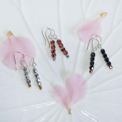 Czech Glass Beads Sterling Silver Drop Earrings