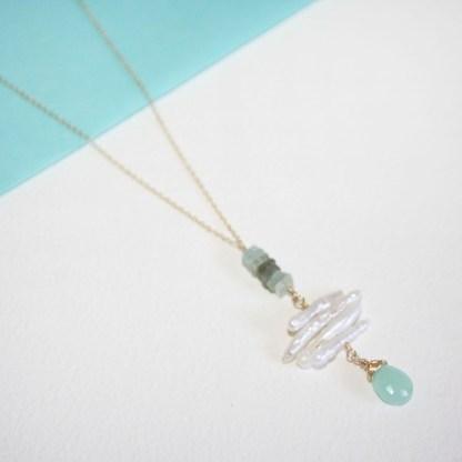 Peruvian Chalcedony and Aquamarine Necklace1