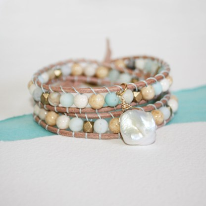 Mixed Gemstone Brass Beads and Keishi Pearl Double Wrap Leather Bracelet1