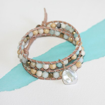 Mixed Gemstone Brass Beads and Keishi Pearl Double Wrap Leather Bracelet