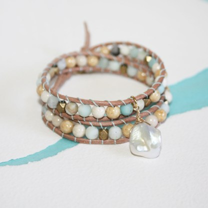 Mixed Gemstone Brass Beads and Keishi Pearl Double Wrap Leather Bracelet2