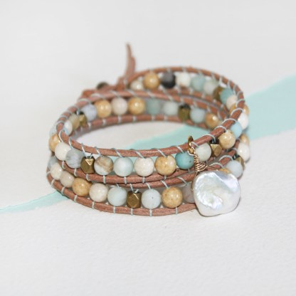 Mixed Gemstone Brass Beads and Keishi Pearl Double Wrap Leather Bracelet3