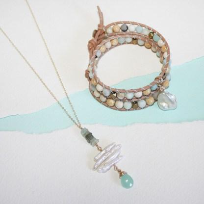 Peruvian Chalcedony and Aquamarine Necklace2