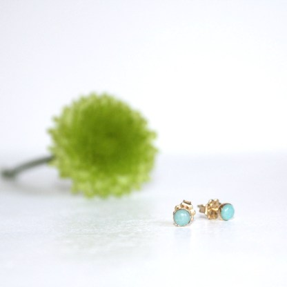 Amazonite-Gold-Fill-Stud-Earrings