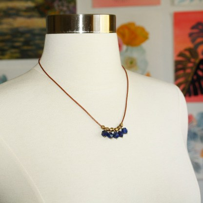 Lapis-Lazuli-Faceted-Brass-Beads-Leather-Necklace
