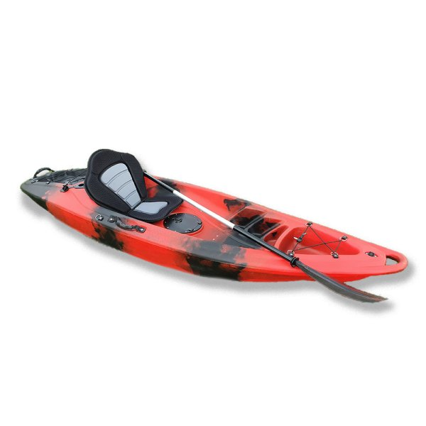 Red single kayak with paddle and seat