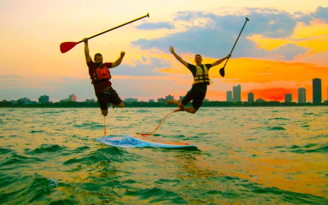 paddleboard lessons chicago sunset contact