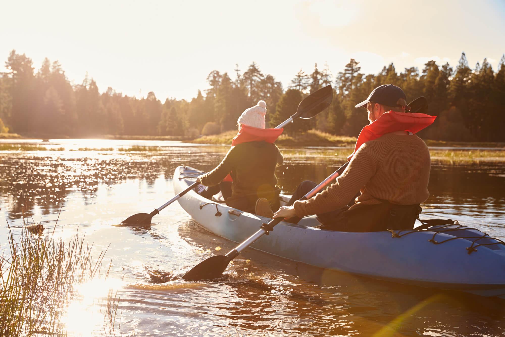 2 people on tandem kayak