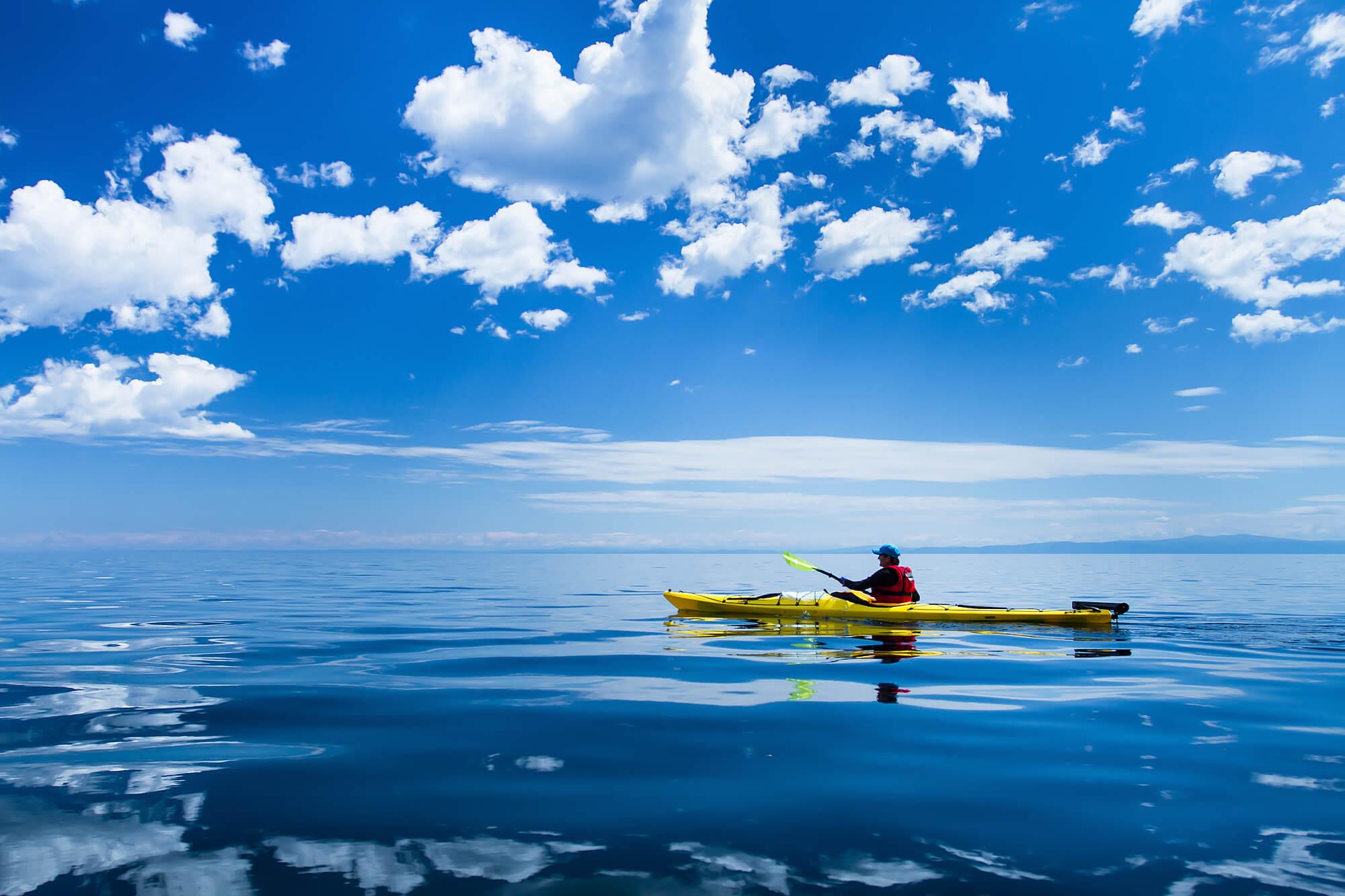 Man on Touring Kayak