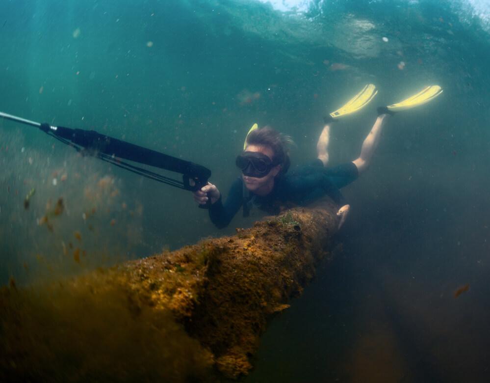 Woman Spearfishing