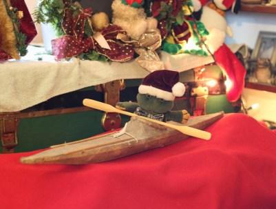 frog in Christmas kayak