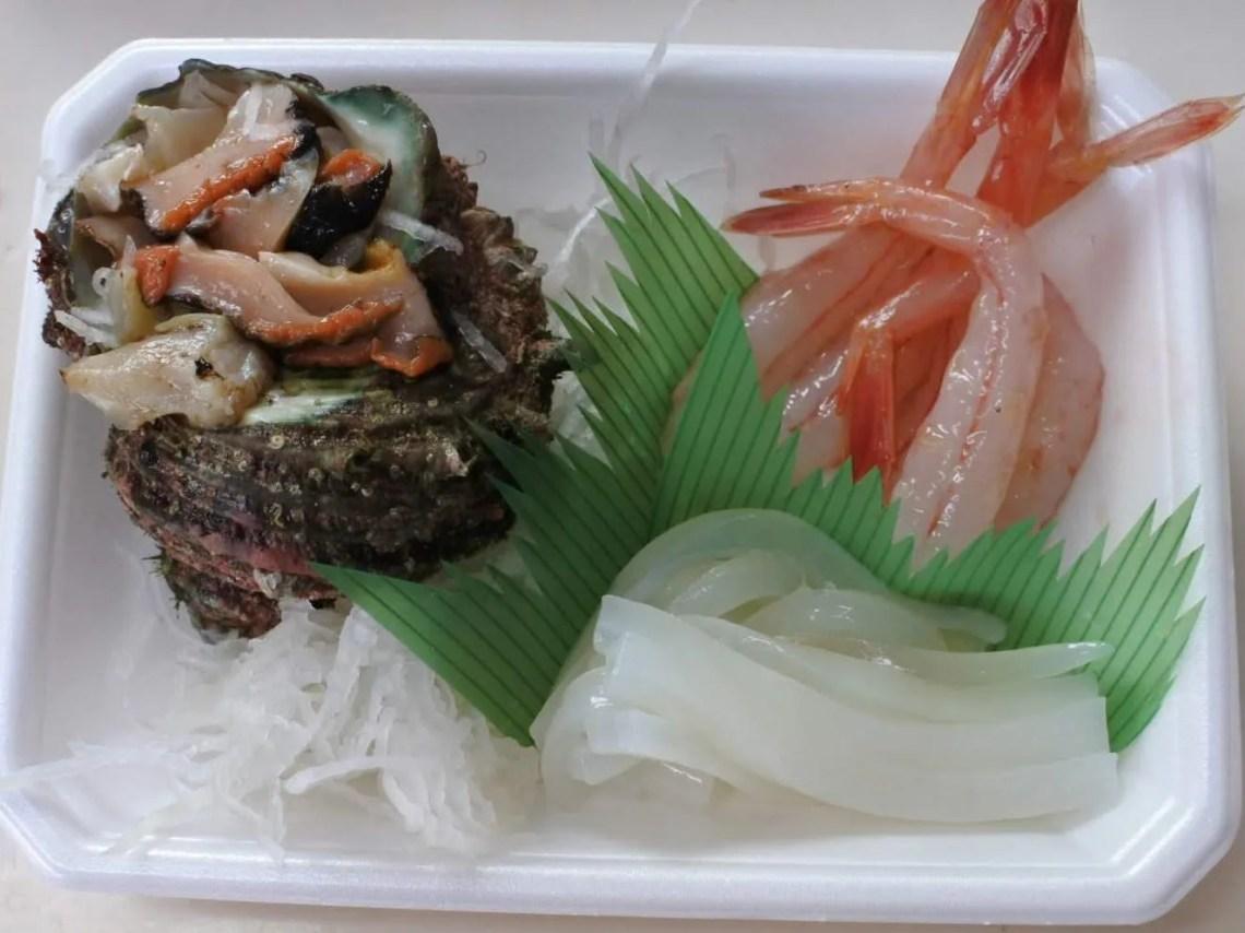 刺身三種盛り サザエ 甘えび 白イカ