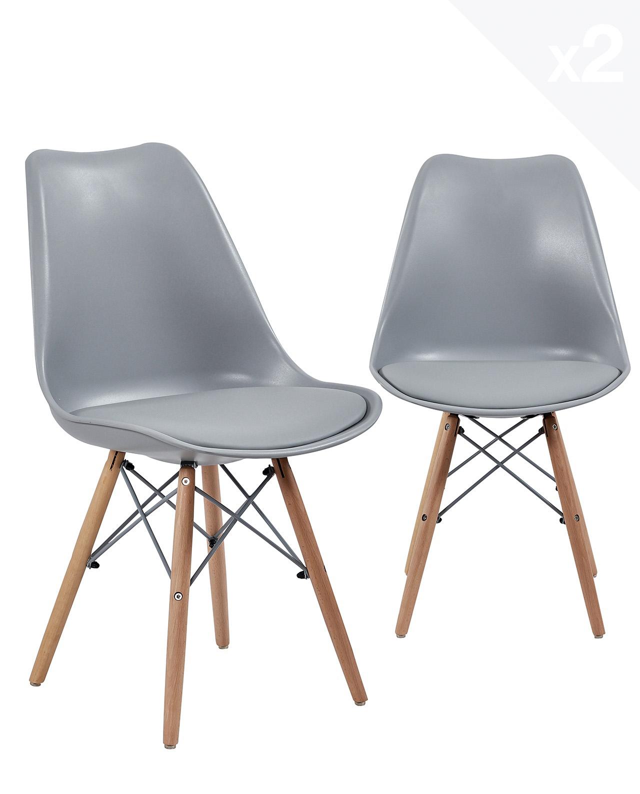 chaise scandinave avec coussin nasi lot de 2