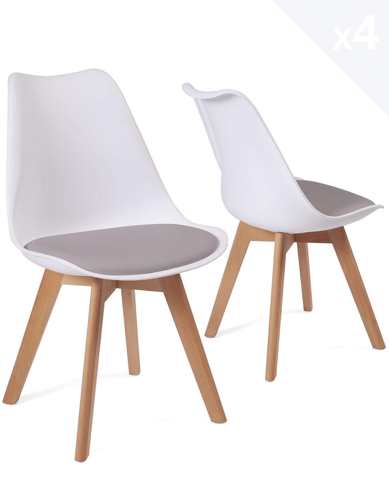 lot de 4 chaises scandinaves avec coussin lao