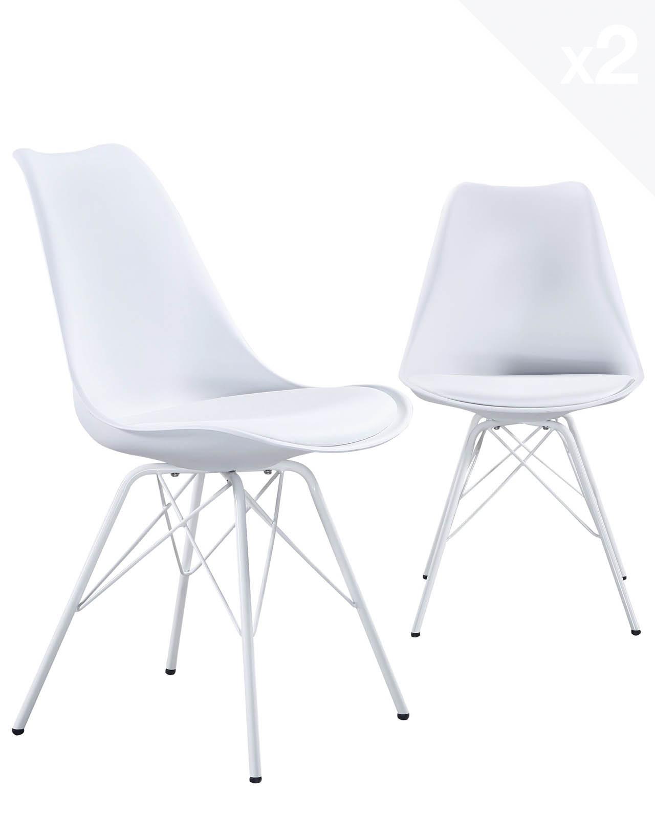 chaise design pied metal step lot de 2