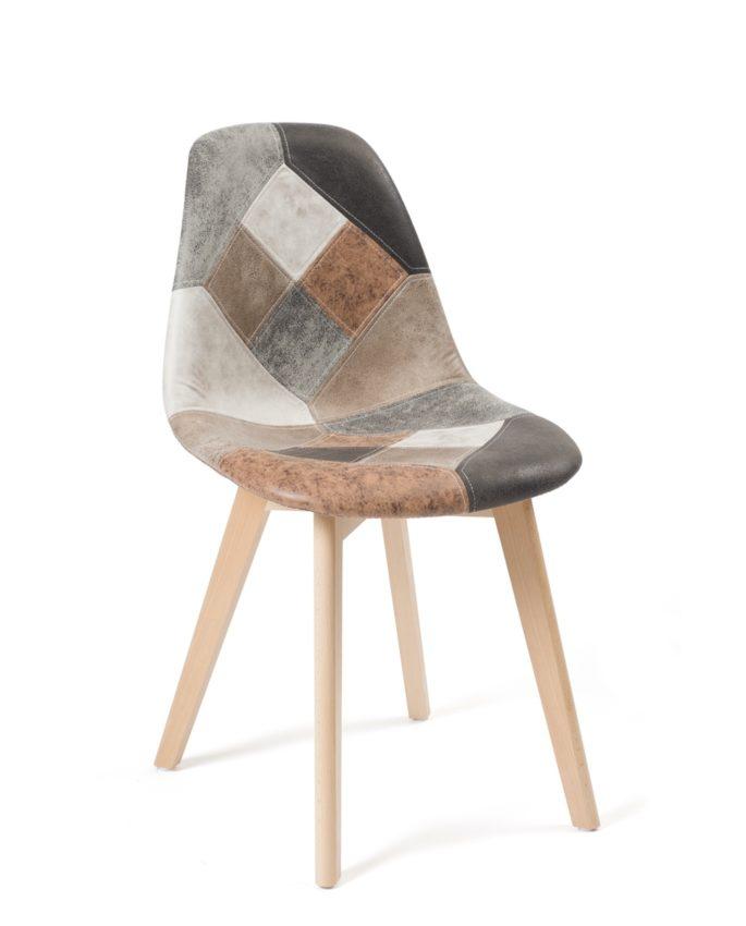 lot de 2 chaises patchwork simili cuir scandinaves nada