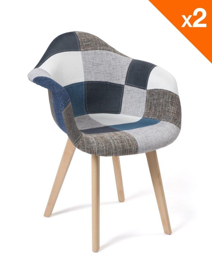 fauteuils scandinaves patchwork neda lot de 2