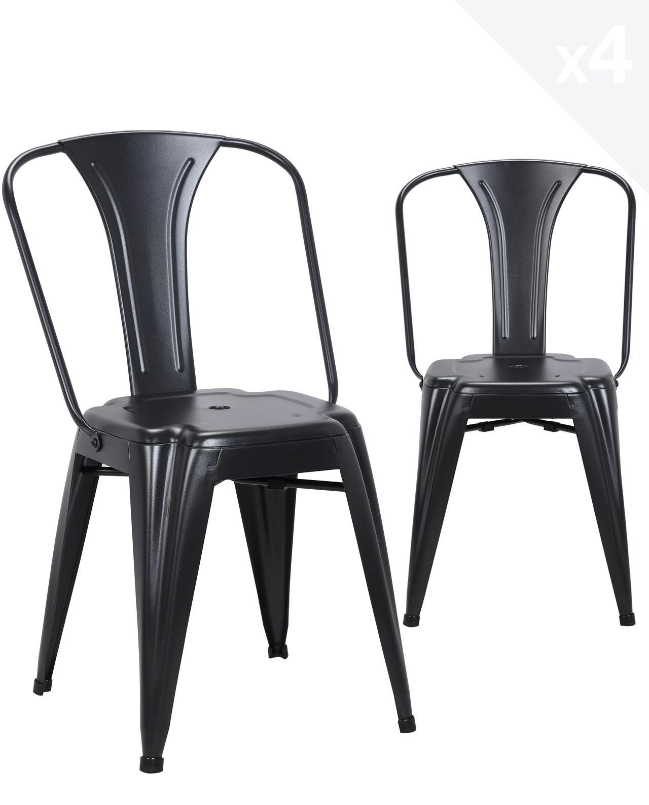 chaise industrielle metal brook lot de 4