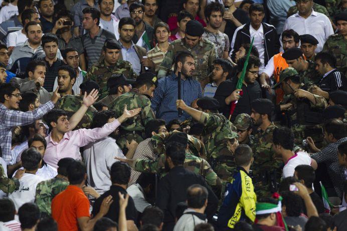 FILE PHOTO: Riot police at Tehran's Azadi stadium. REUTERS/Stringer