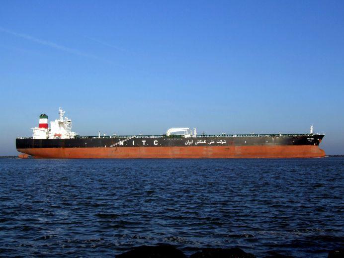 An Iranian oil tanker approaching Rotterdam, Holland.