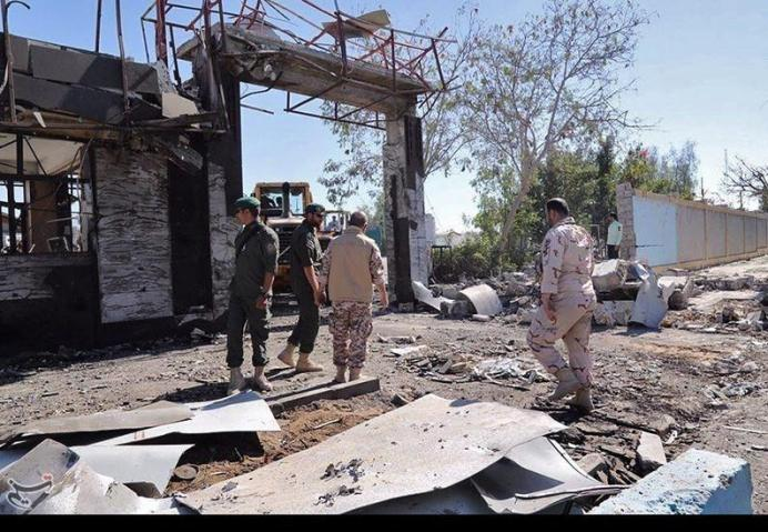General view of damages after a suicide car bomber outside a police station in Chabahar, Iran December 6, 2018. Tasnim News Agency /Handout via REUTERS