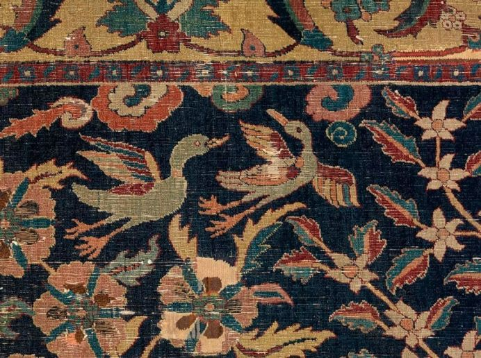 Wagner Garden Carpet (detail), central Iran, early 17th century, cotton warp; wool, cotton, and silk wefts; and wool pile, the Burrell Collection, Glasgow.