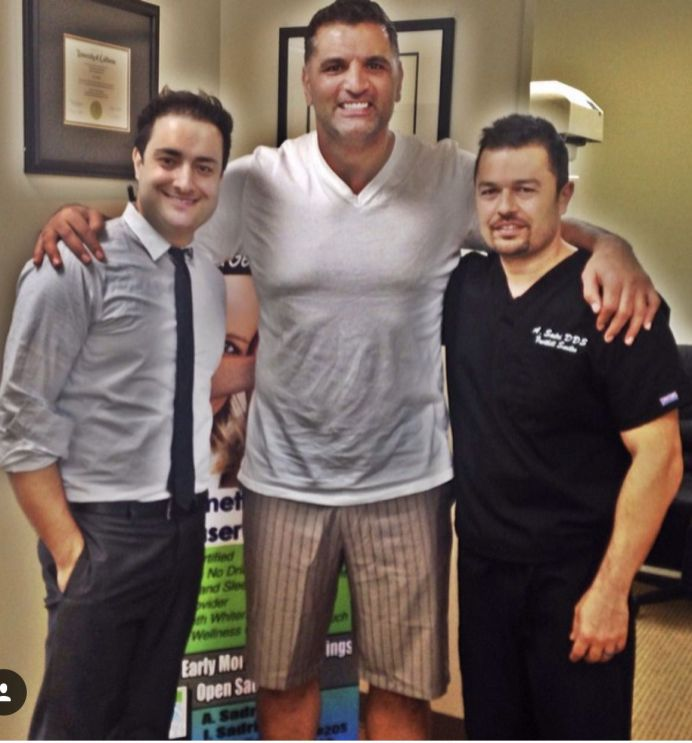 With former NFL Player and the first Iranian in the NFL, Shar Pourdanesh and Dr. Ali Sadri at Foothill Smiles.