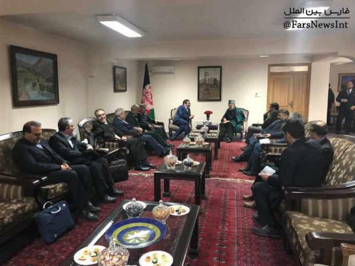 Shamkhani meets with Hamed Karzai. Source: Kayhan London