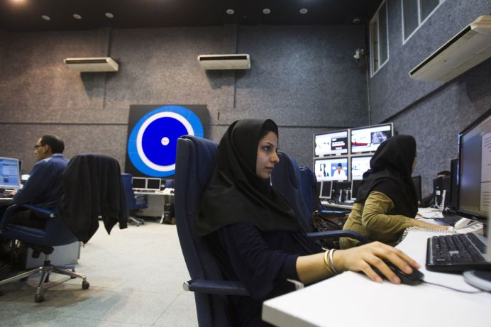 A view shows the Press TV's Newsroom in Tehran. REUTERS