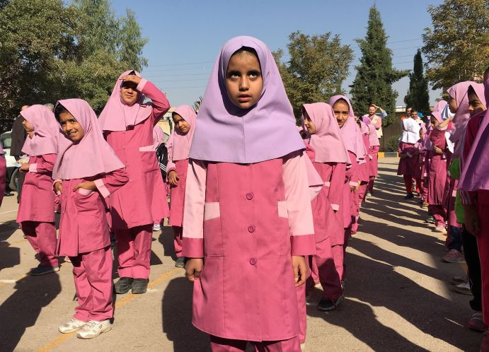 Iranian and Afghan girls gather at the Emam Hasan Mojtaba school in Kerman, Iran, October 23, 2016. Picture taken on October 23, 2016. REUTERS/Gabriela Baczynska