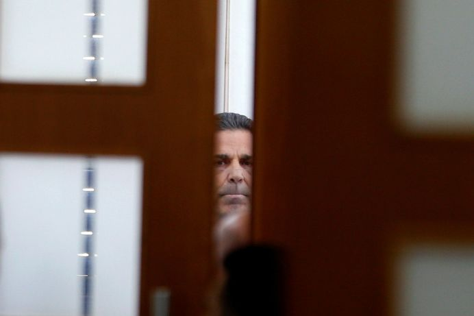 Gonen Segev, a former Israeli cabinet minister indicted on suspicion of spying for Iran, is seen in court in Jerusalem, July 5, 2018 REUTERS/Ronen Zvulun