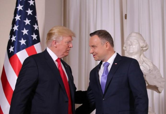 U.S. President Donald Trump and Polish President Andrzej Duda. REUTERS/Carlos Barria